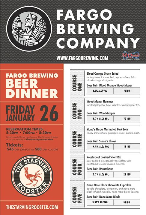 Fargo Brewing Beer Dinner at The Starving Rooster in Bismarck